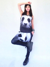 Anime Costumes AF-S2-666931 Jazz Dance Costume Two Tone Pandas Printed Sleeveless Top With Pants
