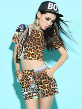 Anime Costumes AF-S2-666971 Jazz Dance Costume Leopard Short Sleeve Crop Top With Shorts Women's Dance Costumes