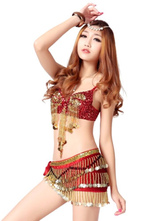 Anime Costumes AF-S2-666981 Sexy Jazz Dance Costume Red Sequined Crop Top With Shorts In 4 Piece Set