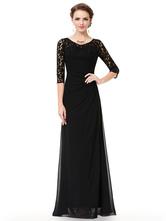Abendkleid aus Spitze Chiffon mit Rundkragen und Reißverschluss in Schwarz