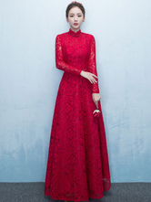 Lace Mother Of The Bride Dress Burgundy High Collar Occasion Dress Long Sleeve A Line Wedding Guest Dresses