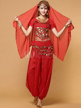Belly Dance Costume Red Chiffon Top With Top And Pants Bollywood Dance Costume