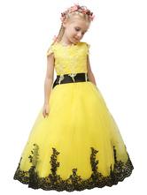 Concurso vestido princesa amarela flor menina vestido tule vestido do laço Applique arco Sash Maxi Júnior da dama de honra da criança