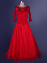 Organza Ballroom Dance Dress Lace Patchwork Semi Sheer Pleated A Line Ballroom Dancing Costume