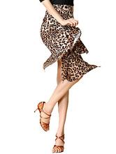 Latin Dance Skirt Amber Leopart Printed Layered Irregular Hem Latin Dancing Costume