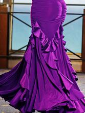 Danse de salon jupe Organza Ruffles Flare plissé sirène Costume de danse de salon