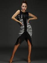 Latin Dance Dress Zebra Stripe franjas sem mangas bainha Irregular Bodycon Latin Dance Costume com altura do joelho meias