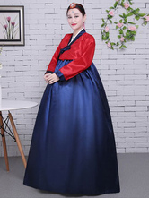 Halloween Korean Costume Women's Satin Traditional Color Block Bowknot A Line Hanbok Court Costume Set