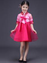 Halloween Korean Costume Girls' Satin Bowknot Short Sleeve Color Block Shift Traditional Hanbok Dress Costume