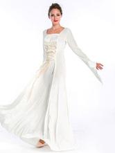 Traje do Vintage Halloween Renascimento Medieval branco longo vestido de Chiffon do mulheres Halloween