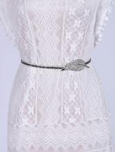 Silver Skinny Belt Women's Glitter Rhinestone Leaf Sash