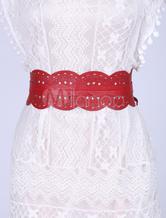 Ampia fascia in pelle Boho femminile intagliata cinture rosse