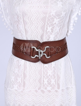 Leather Corset Belt Vintage Women's Braids Wide Elastic Waist Belts With Silver Lock