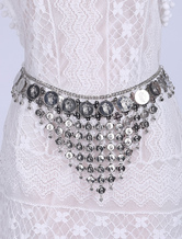 Boho Waist Chain Silver Metal Fringes Beach Dress Belt