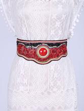 Boho Elastic Belts Women's Red Stone Beading Luxury Cowgirl Corset Sash