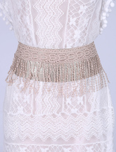 Leather Corset Belt Boho Women's Champagne Lace Fringes Belts