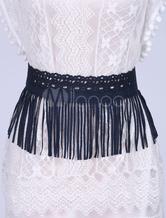 Blu camoscio Boho frange cintura donna intagliato cinghie elastiche amazzone