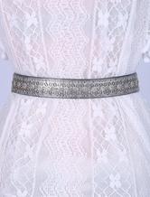 Damen Gürtel Glänzendes Metallic-Stoff in Silbern