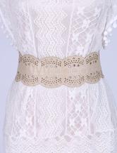Boho Leather Belt Women's Wide Waist Sash Carved Bohemian Belts
