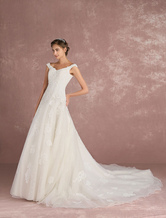 Luxury Wedding Dress Ivory Tulle Bridal Dress V Neck Sequin Lace Applique A Line Bridal Gown With Train