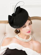 Vintage Headpiece Hat Wool Bowknot Black Flapper Costume Hat Halloween