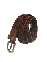 Vintage Women's Belts Brown Leather Braids Woven Belts