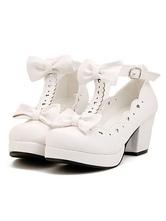 Sweet Lolita Shoes 2018 White Chunky Heel Platform T Strap Bows Lolita Footwear