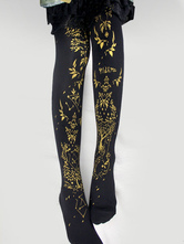 3b6d2f75fb6 Gothic Lolita Stockings Black Printed Knee High Lolita Socks ...