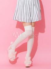 Pink Lolita Sandals Sweet Bunny Fur Pom Pom Platform Wedge Open Toe Lolita Shoes