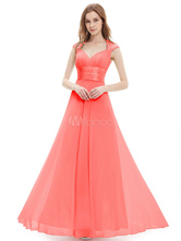 7cb4e340d793d0 Red Bridesmaid Dress Chiffon Long Prom Dresses 2019 Queen Anne Neckline  Sequin Ruched Sleeveless Occasion Dress With Train · 45%OFF