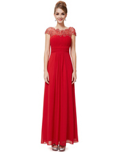 Red Prom Dresses 2020 Long Bridesmaid Dress Lace Illusion Chiffon Ruched Waist Keyhole Pleated Floor Length Party Dress