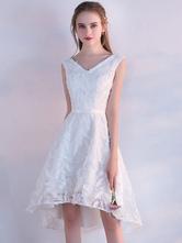 Vestido de baile em linha-A cauda assimétrica decote V com cinto Lace up branco Não