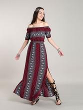 Bohemian Maxi Dresses Red Summer Dress Off Shoulder Floral Printed Boho Dress