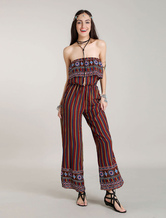 Gambe larghe gambe lunghe rompers Boho senza spalline un pezzo Jumpsuits