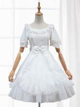 Vestito da Lolita maniche corte lolita Abiti da Sposa in chiffon monocolore