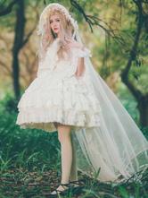 Lolita Wedding Dress OP White Chiffon Ruffle Lolita One Piece Dress