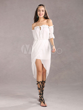 Vestido bohemio para uso en la playa con escote cuadrado High-Low con manga corta con volante fruncido Color liso