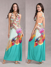 African Maxi Dresses Backless Floral Printed Waist Cut Out Party Dress