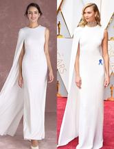 White Celebrity Dresses Chiffon Designed Cape Sleeve Evening Dresses Sheath Oscar Red Carpet Dress Inspired By Karlie Kloss Milanoo