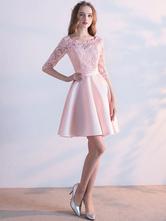 Modisches Abendkleid für Homecoming mit Rundkragen Satingewebe A-Linie- und Falten und Hellrosa