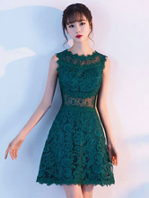 Lace Cocktail Dresses Dark Green Short Mother Of The Bride Dress Sleeveless Illusion Wedding Guest Dresses