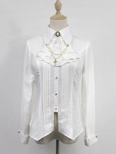 Gothic Lolita Blouse Neverland Overnight Carols White Pearl Lolita Top