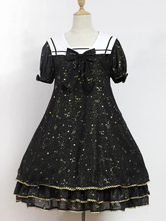 Sweet Lolita Dress Neverland Constellation Kindergarten OP Black Printed Short Sleeve Lolita One Piece Dress