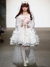 Lolita Wedding Dress Neverland OP White Lace Ruffle Lolita One Piece Dress Original Design