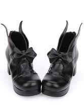 Lolita Schuhe mit Schleife und Blockabsatz Bogen Plattform Chunky Ferse  in Schwarz