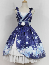 Kimono Lolita Dress The Snow Girl In Haunted Night JSK Neverland Floral Tassel Bow Surplice Ruffles Royal Blue Lolita Jumper Skirt