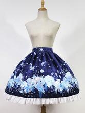Classic Lolita Skirt The Snow Girl In Haunted Night Neverland Floral Print Ruffles Pleated Royal Blue Lolita Skirt Original Design