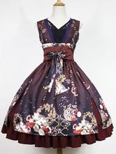 Robe à bretelles lolita éblouissante en polyester impression plissée col V Robe  Déguisements Halloween