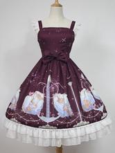 Robe à bretelles lolita séduisante en polyester rouge foncée impression à volants col carré Top  Déguisements Halloween