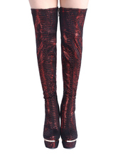 Women's Winter Boots Sexy Platform Boots Over The Knee High Heels Red Snake Print High Boots